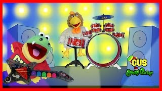 Gus the Gummy Gator starts a Band with Musical Instruments for kids Funny Video for Children