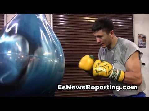 working a water punching bag at mayweather boxing club EsNews