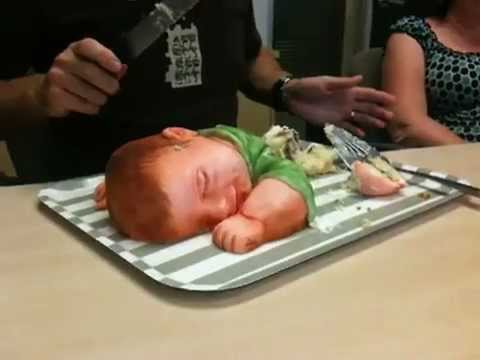 Man cuts through little babys head