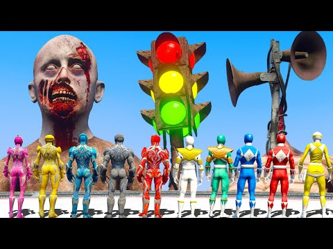 Power Rangers FOUND Giant Angry Siren Head Army   Superheroes VS Monster   Monster Universe