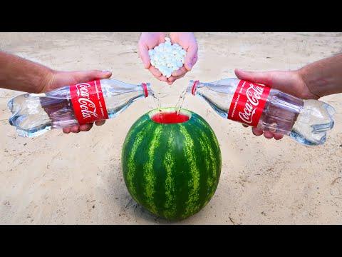 Experiment: Clear Coca-Cola vs Watermelon and Mentos