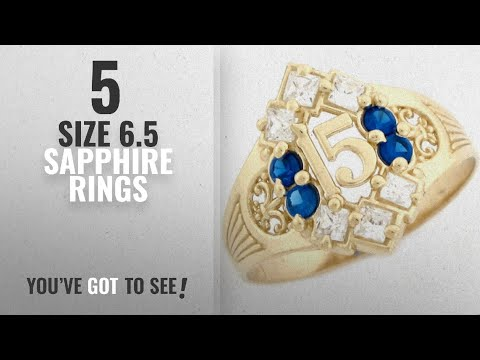 10 Best Size 6.5 Sapphire Rings: 10k Yellow Gold Simulated Sapphire Birthstone Beautiful Quinceanera