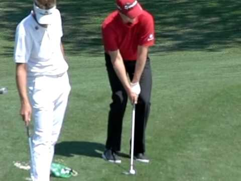 Justin Rose Close up shot of hands arms and club on flop shot!
