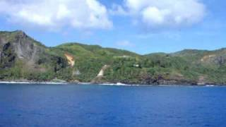 View from Cruise Ship anchored in Bounty Bay. ADAMSTOWN with the entire population of 48 (Pitcairn Islands) holds the record ...
