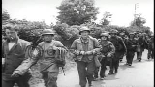 Carentan France  City pictures : French civilians greet United States troops entering Carentan during World War II...HD Stock Footage