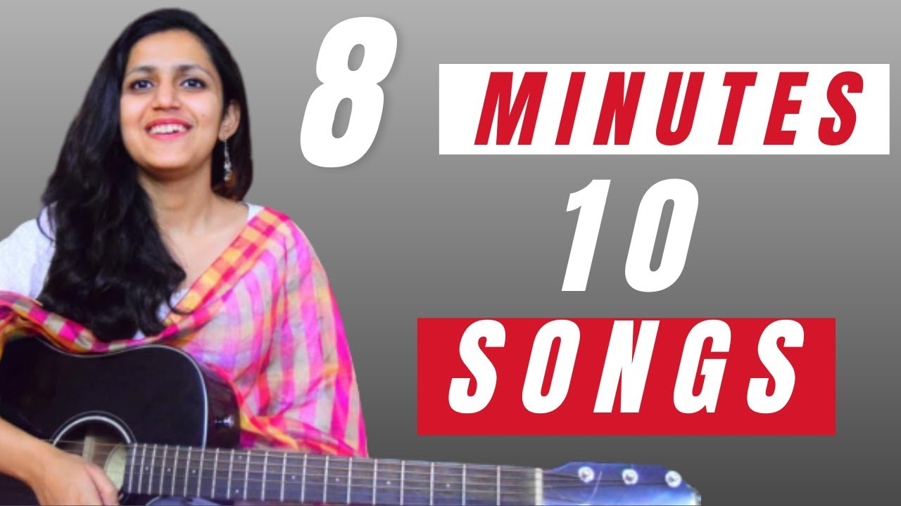 8 मिनट में Guitar पर 10 गाने| Play 10 Songs On 1 Single Chords| Beginners Guitar Lesson | Music Wale