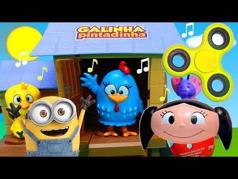 Galinha Pintadinha Galinheiro Musical Desafio Fidget Spinner Minions Luna Brinquedos Surpresas