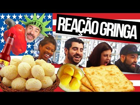 Gringos experimentando comida brasileira