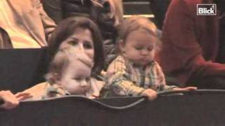 Roger's twins attend the final of the 2010 Swiss Open at Basel. Game between Roger Federer and Novak Djokovic.