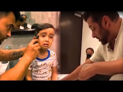 Salman Khan Nephew Ahil Sharma Crying While Getting A Hair Cut By Dad Aayush Sharma