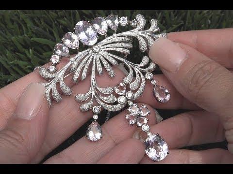 Certified 22.73 tcw  IF-VVS Pink Morganite, Pink Kunzite & Diamond Pendant, Necklace & Pin C936