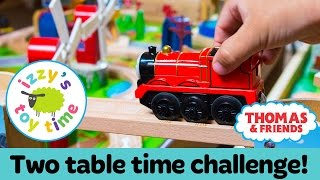 Thomas Train DOUBLE TRACK TIME CHALLENGE! Thomas Train with Brio and KidKraft   Toy Trains for Kids