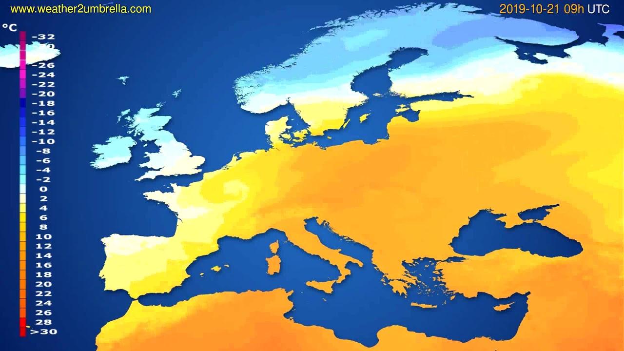 Temperature forecast Europe // modelrun: 00h UTC 2019-10-19