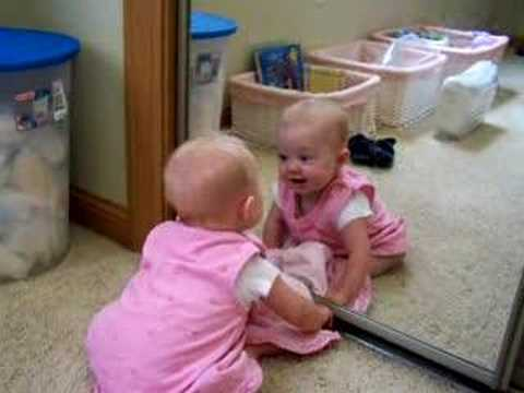 Baby Girl in Mirror