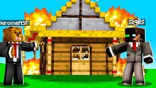Lighting My Friends House On FIRE  In Camp Minecraft | JeromeASF