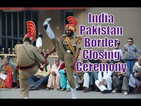 Bordering closing ceremony between India and Pakistan travel video
