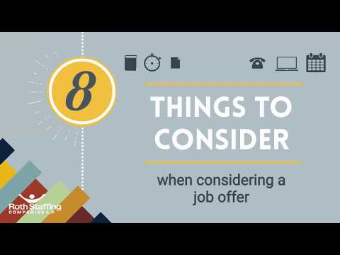 8 things to consider when considering a job offer