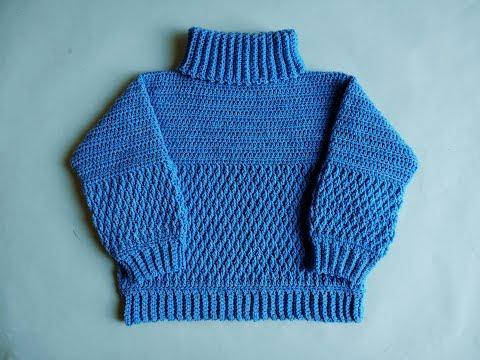 how to Crochet Sweater High Neck Pullover