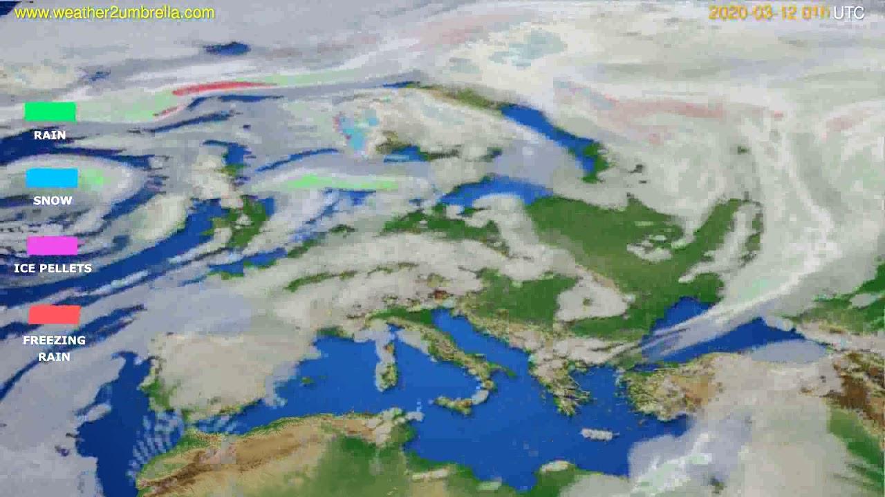 Precipitation forecast Europe // modelrun: 12h UTC 2020-03-10
