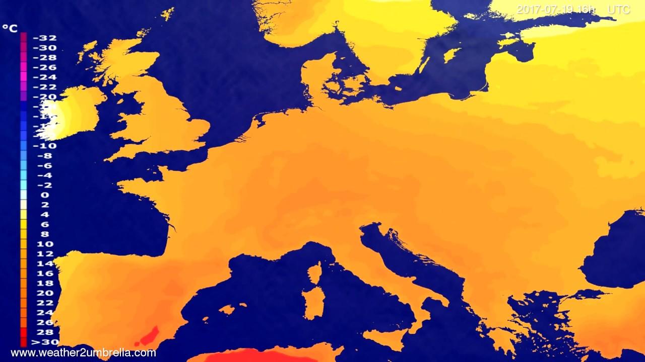 Temperature forecast Europe 2017-07-16