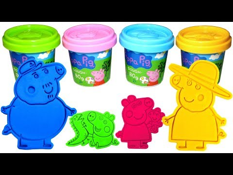 Peppa Pig Grandparents Play Doh Molds with Peppa George Pig Granny Pig Grandpa Pig Surprise Toys