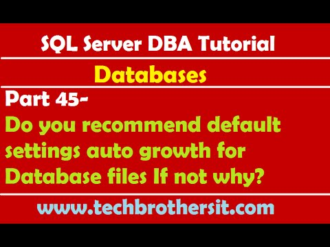 SQL Server DBA Tutorial 45-Do you recommend default settings auto growth for Database files