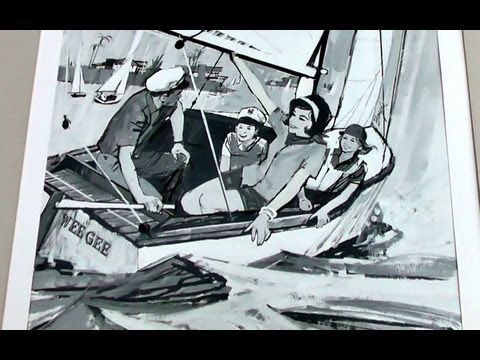 Original 1960's Award Winning Neil Boyle Painting for Huntington Harbour Newspaper Advertisements