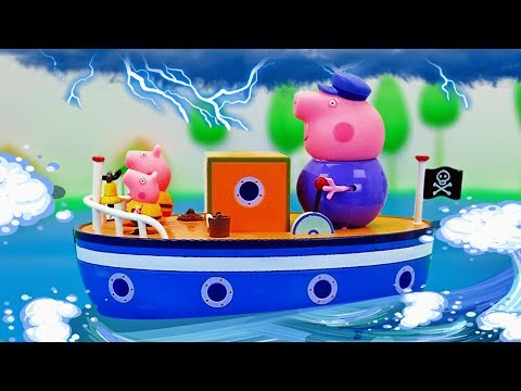 Peppa Pig, George and Daddy Pig and the Sea Storm - Peppa Pig at the Boat