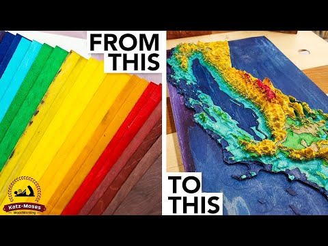 3D Wood Topographical Map made from Dyed Skateboard Veneers
