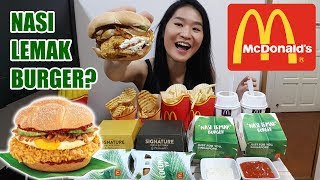 """Eating new items from McDonald's Singapore! Nasi Lemak burgers, Coconut pies, Criss Cut Fries and Chendol McFlurry. Also tried the Buttermilk Crispy Chicken and Classic Angus Beef burgers from McDonald's Signature collection. Thank you for watching! =)2:18 Eating starts (Nasi Lemak Burger), 7:31 Chendol McFlurry,  10:14 Buttermilk Crispy Chicken, 15:26 Classic Angus Beef, 26:00 Coconut PieSubscribe to my channel: https://www.youtube.com/peggieneo?sub_confirmation=1Support my channel on Patreon https://www.patreon.com/peggieneoCheck out other eating shows of mine!Fried Chicken Mukbang ShowsKFC Curry Crunch Feast https://youtu.be/3FfXPoyrj8AWingstop Chicken Wings Feast https://youtu.be/WI8q9AxCHVsJollibee Fried Chicken Feast https://youtu.be/vNjgW-sOo3EPopeyes Fried Chicken Feast https://youtu.be/RyjfP94pAAINoodles Mukbang ShowsFire Noodles Army Stew https://youtu.be/HbFyFpwExskIndomie Mi Goreng Noodles https://youtu.be/CRK3hhmAgtMSuper Cheesy Fire Noodles https://youtu.be/w8Z3-e5iccIBlack Bean Noodles https://youtu.be/yRdw2wnaEqsFood Challenge VideosMassive English Breakfast in UK https://youtu.be/3m62-_VtzzEPho Noodles Challenge in UK https://youtu.be/7DOPI6tSy3MRandy Santel $20 Subway Challenge https://youtu.be/cDPHO3l6nyQ2KG Monster Burrito Challenge https://youtu.be/06yzcYI0LQMConnect with me:Facebook https://www.facebook.com/peggieeatsTwitter https://twitter.com/Peggie_NeoInstagram https://www.instagram.com/neopeggie/Music""""Funin and Sunin"""" Kevin MacLeod (incompetech.com)Licensed under Creative Commons: By Attribution 3.0 Licensehttp://creativecommons.org/licenses/by/3.0/"""