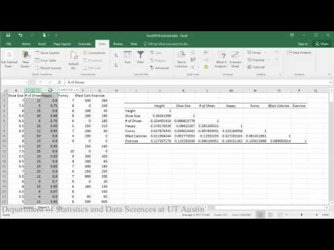 Correlation Matrix and P-values in Excel 2016
