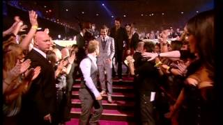 Take That win British Live Act presented by Chris Moyles | BRIT Awards 2008