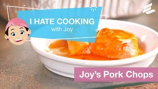"""In this video, Joy Dudis, """"The Pink Lady"""" guides viewers through making an easy pork chop recipe with just three ingredients."""