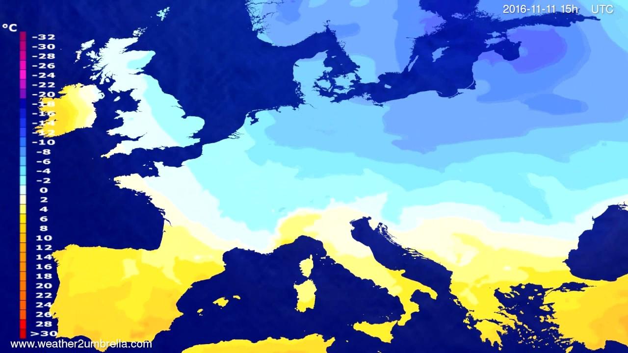 Temperature forecast Europe 2016-11-08
