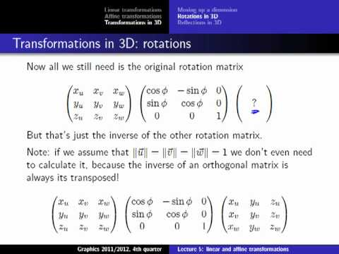 Computer Graphics 2012, Lect. 5(2) - Linear and Affine Transformations