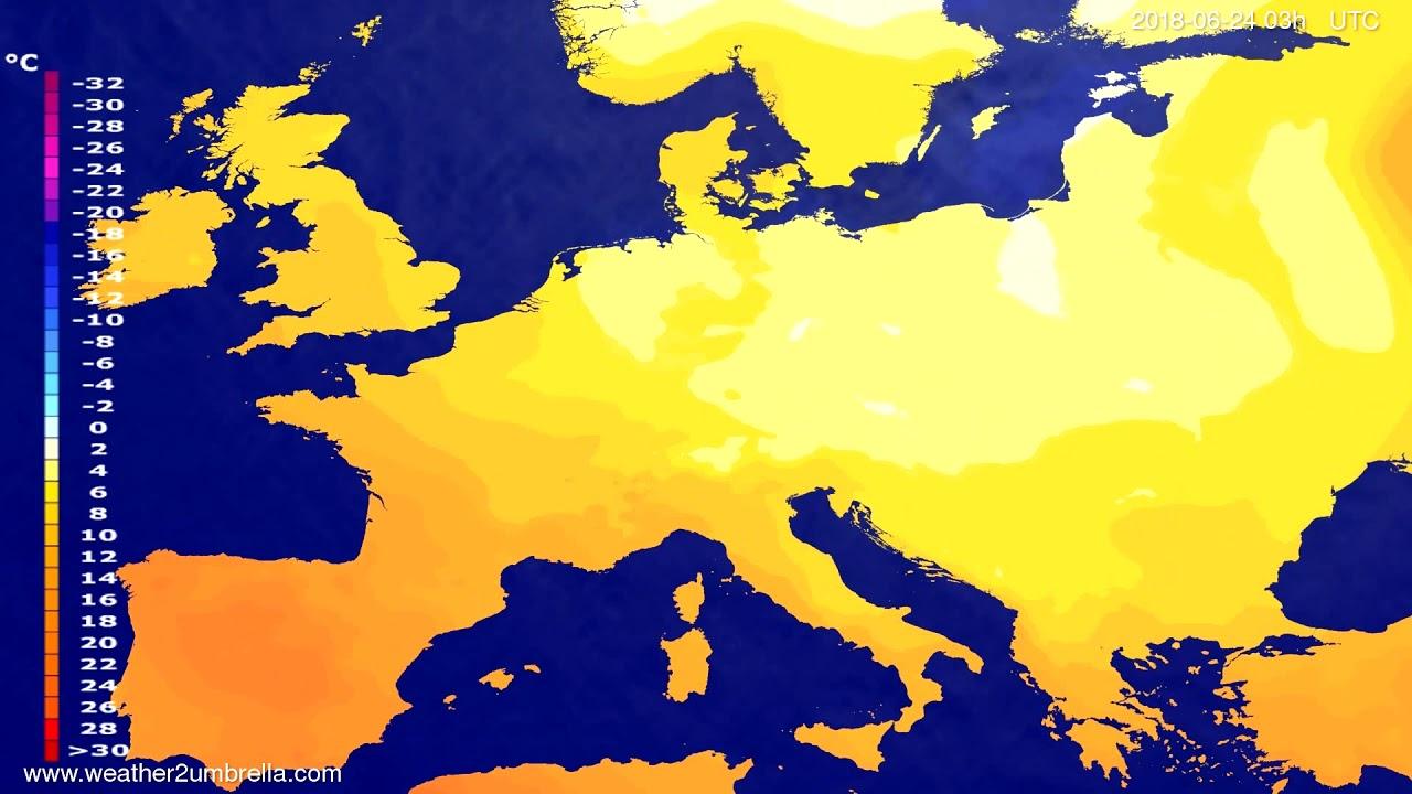 Temperature forecast Europe 2018-06-21