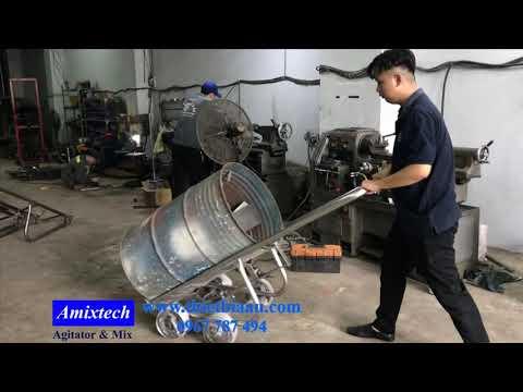 Xe đẩy thùng phuy 4 bánh bằng inox