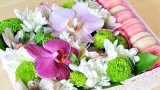Коробочка с цветами и пирожными Macaron ☆ Подарки на 8 марта