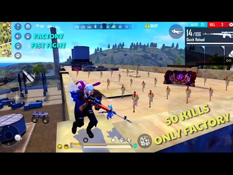 FREE FIRE 50 Kills Only Factory Roof Fist Fight  || FF King Of Factory TOP || Must Watch Saroj Gamer