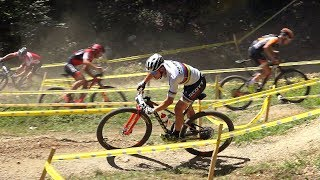 Swiss MTB XCO Championships in Montsevelier- Elite Men 1. Nino Schurter 2 Mathias Flückiger 3. Florian Vogel Music by ...