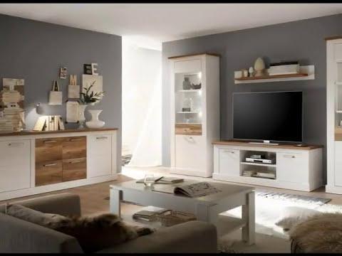 Wohnwand und Esszimmermöbel Toronto Anderson Pinie weiß mit Nussbaum Satin