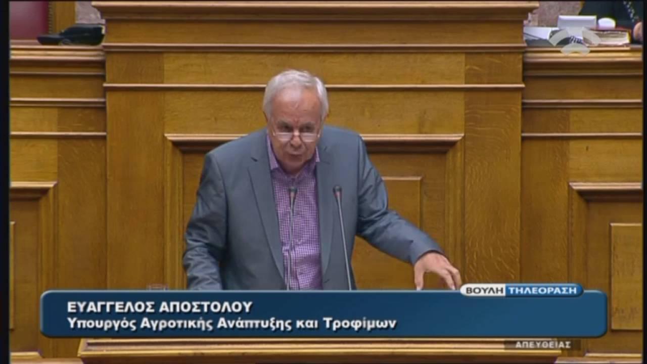 Ε.Αποστόλου(Υπουργός Αγροτ. Αν. και Τροφ.)(Εφαρμογή της Συμφωνίας Δημοσιονομικών Στόχων)(21/05/2016)