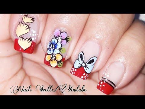 Decoración de uñas con flores, moño y corazones/uñas paso a paso/uñas decoradas con francés rojo