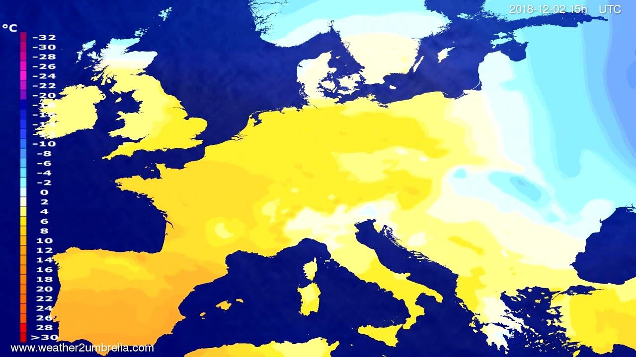 Temperature forecast Europe 2018-11-29