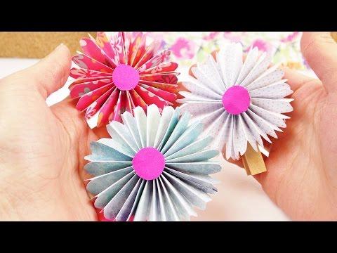 DIY Frühlings Blumen aus Papier   Dekoideen einfach und schön   Süßes Blumen Geschenk selber machen