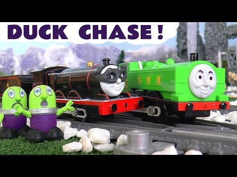Thomas & Friends Toy Trains and the funny Funlings duck chase with Bat-James - Fun kids story TT4U