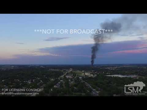 07-10-2018 Sun Prairie, Wisconsin Explosion Aftermath and Distant Fireball from Drone