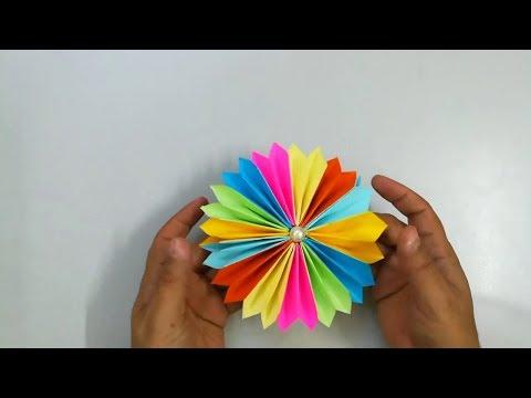 عمل وردة رائعة من الورق الملون make a paper flower - اشغال يدوية