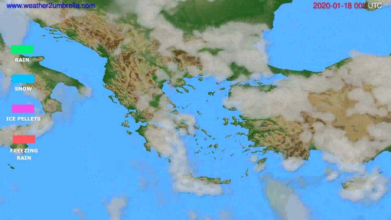 Precipitation forecast Greece // modelrun: 00h UTC 2020-01-17