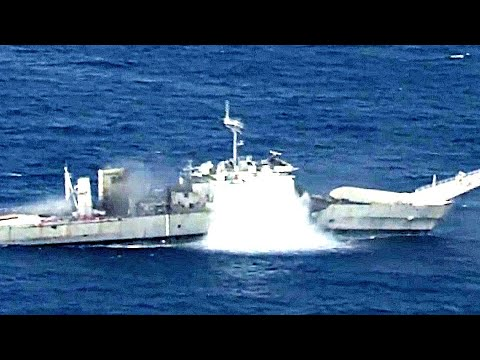 Submarine Torpedo Attack Training (And Harpoon Missle Launched During Same Exercise To Sink Ship)